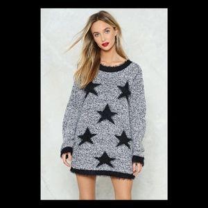 Nasty Gal Knit Doesn't Matter Star Sweater Dress